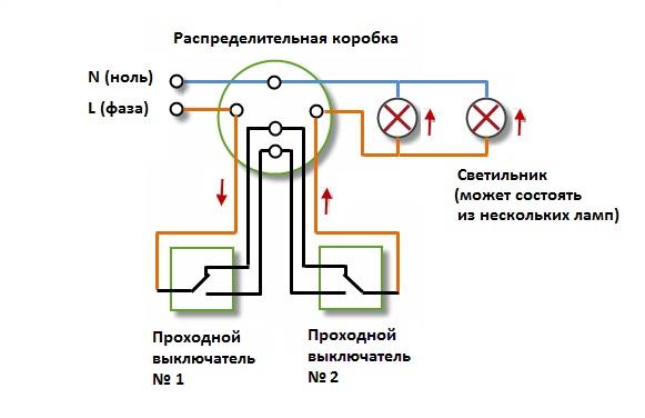 sxema_podklyucheniya_proxodnogo_схема_подключения_проходного_выключателя