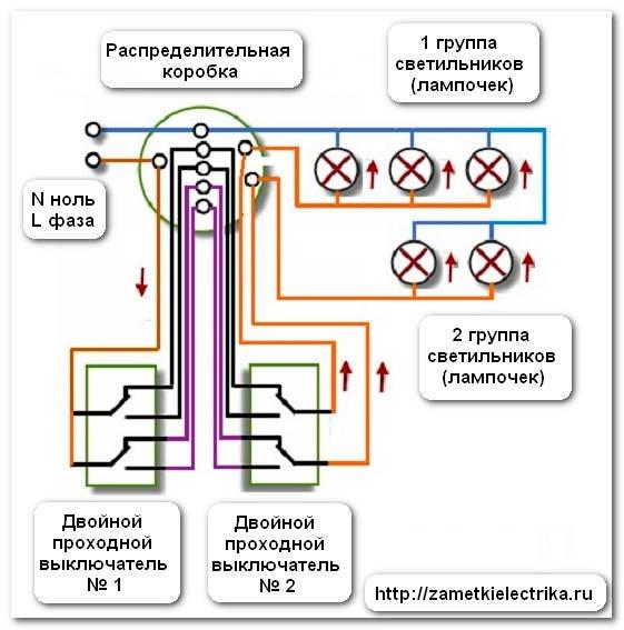 Схема подключения двухклавишного выключателя, возьмем синий провод.  Параллельное подключение ламп Параллельное.