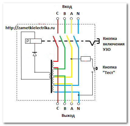 Схема подключения фазных (А,