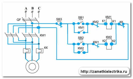 Принципиальная схема реверса асинхронного двигателя.